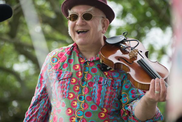 Dave Favis-Mortlock, violinist for FiddleBop, at a gig. Photo: Judy Waldman