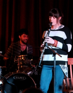 Charlie Fothergill playing clarinet with her own band
