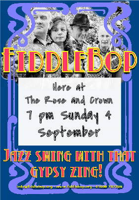 FiddleBop at The Rose and Crown, Oxford, 4 September 2016