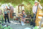 Jo, Dave and Roger at an Open Gardens gig. Ah summer!